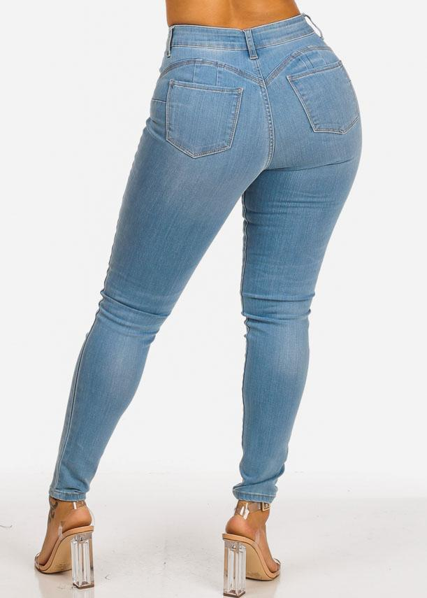 High Rise Butt Lifting Light Wash Skinny Jeans