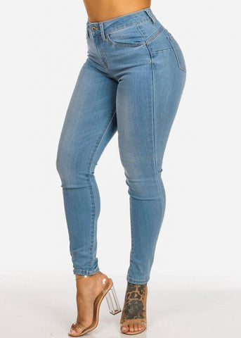 Image of Light Wash Skinny Jeans