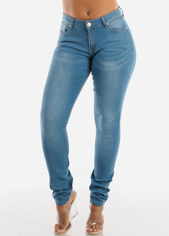 Image of Light Wash Whisker Skinny Jeans