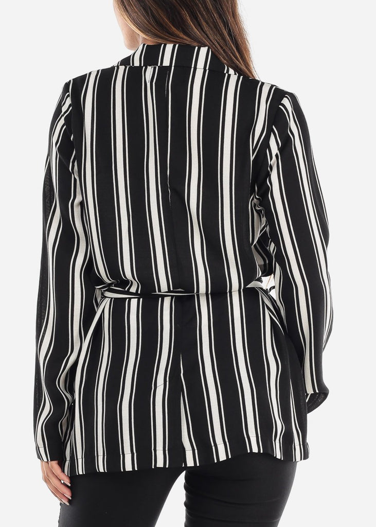 White and Black Striped Belted Blazer