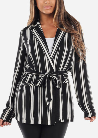 Image of White and Black Striped Belted Blazer