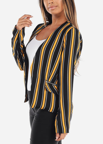 Image of Open Black and Mustard Striped Blazer