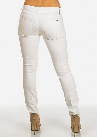 Image of Faux Leather Front White Pants