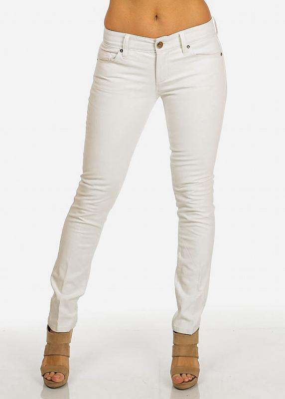 Faux Leather Front White Pants