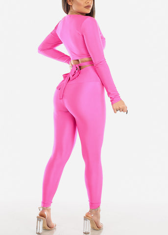 Hot Pink Crop Top & Pants (2 PCE SET)