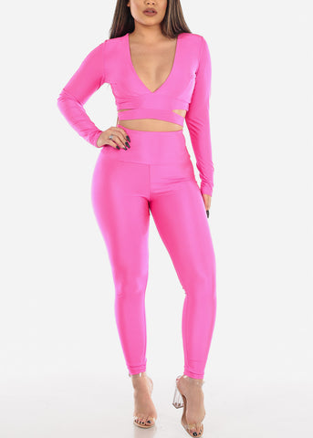 Image of Hot Pink Crop Top & Pants (2 PCE SET)