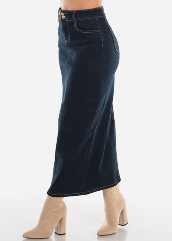 Dark Denim Maxi Skirt