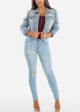 Light Wash Distressed Vertical Seam Jeans MD011LTBLU