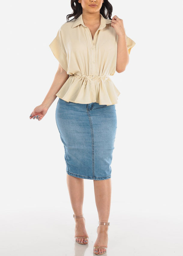 High Rise Medium Wash Denim Skirt