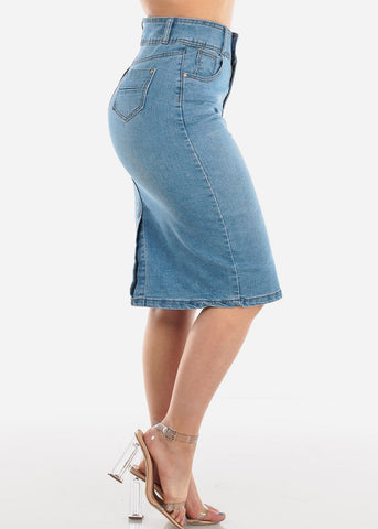 2 Button High Waisted Push Up Butt Lifting Levanta cola Light Wash Denim Skirt For Women Ladies Junior