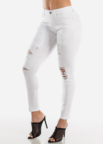 Torn High Rise White Skinny Jeans