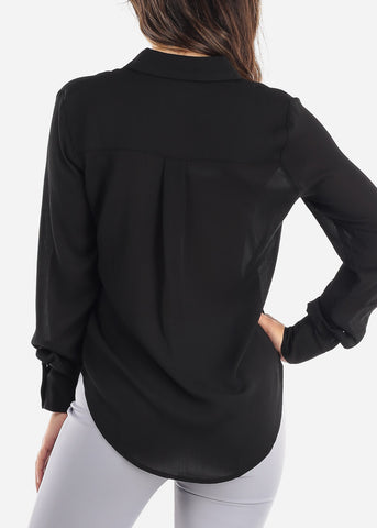 Image of Black Button Down Blouse