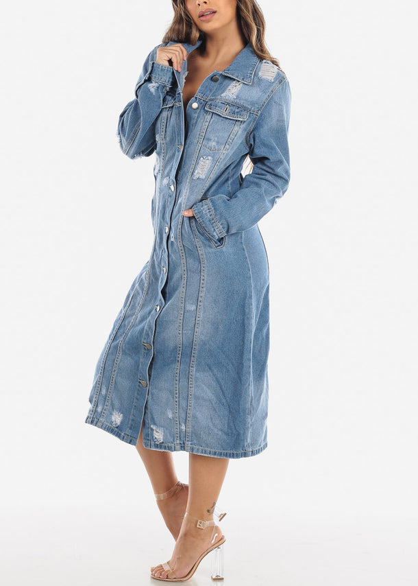 Light Wash Distressed Denim Dress