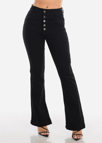 High Rise Black Flare Jeans