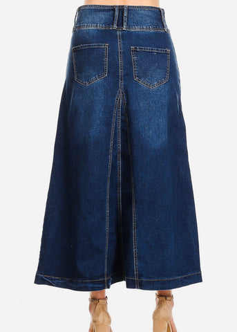 Image of A-Line Med Wash Denim Maxi Skirt