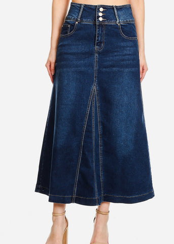 A-Line Med Wash Denim Maxi Skirt