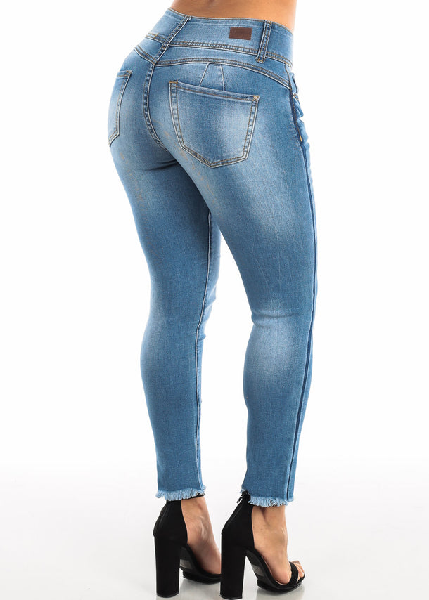 Blue Wash Ripped Push Up Skinny Ankle Jeans