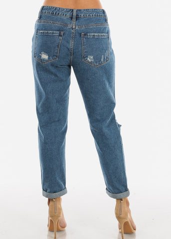 High Rise Distressed Boyfriend Jeans