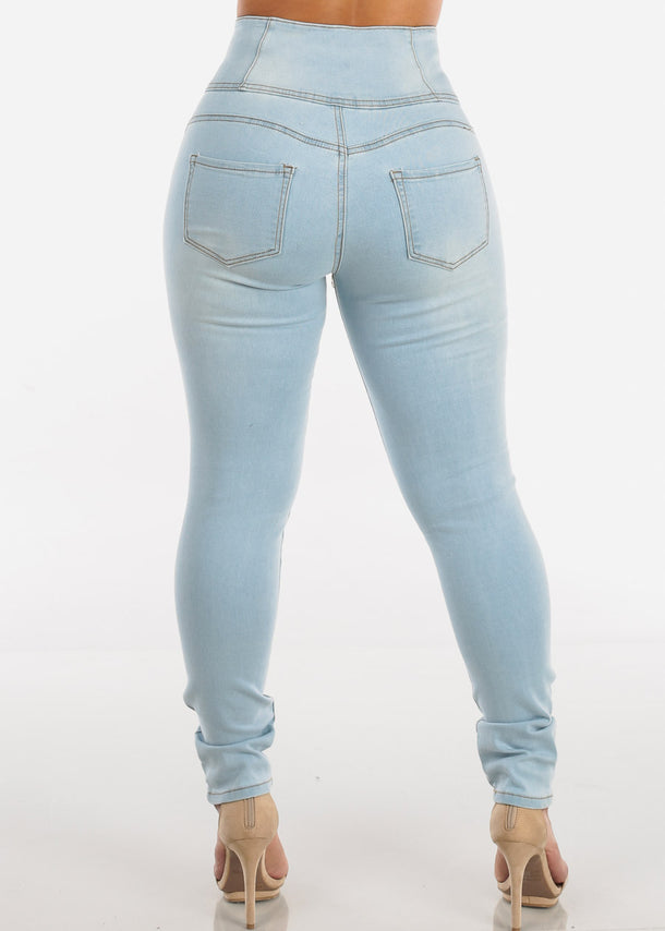 Ultra High Rise Light Wash Skinny Jeans