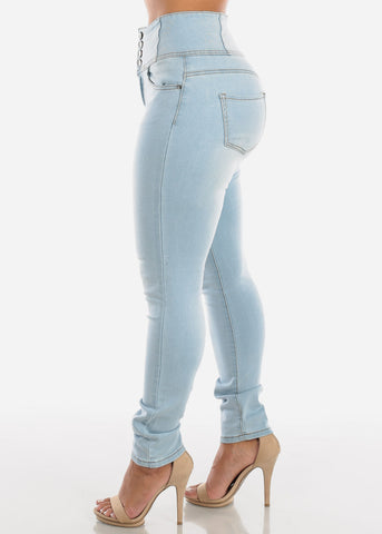 High Waisted Light Wash Skinny Jeans