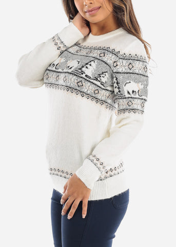 Image of White Polar Bear Sweater BFT0945SWHT