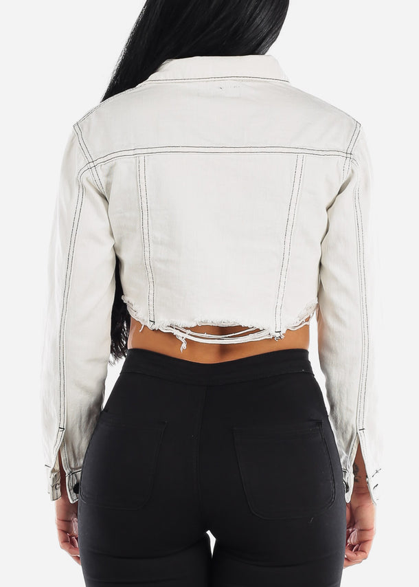 White Ripped Cropped Jacket