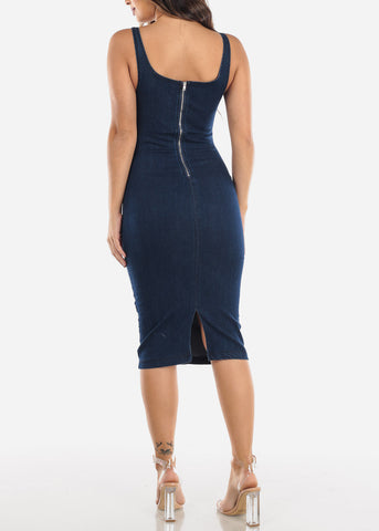Image of Dark Wash Denim Midi Dress