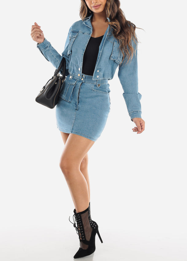Denim Cropped Jacket and Skirt Set
