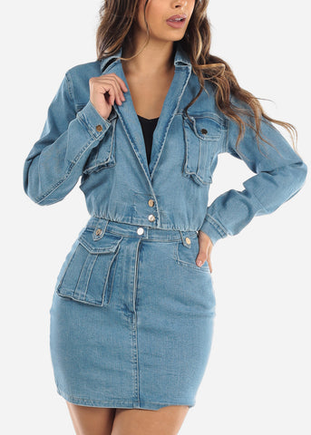 Image of Cropped Denim Jacket and Skirt Set
