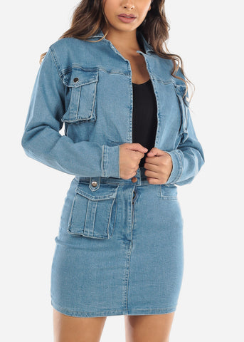 Image of Denim Cropped Jacket and Skirt Set