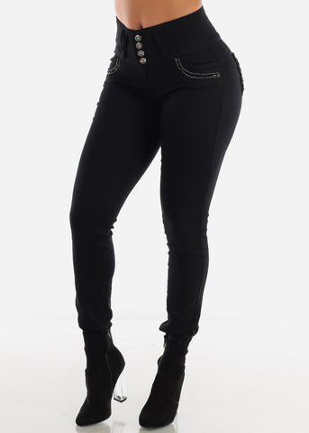 High Waisted Black Butt Lifting Skinny Jeans