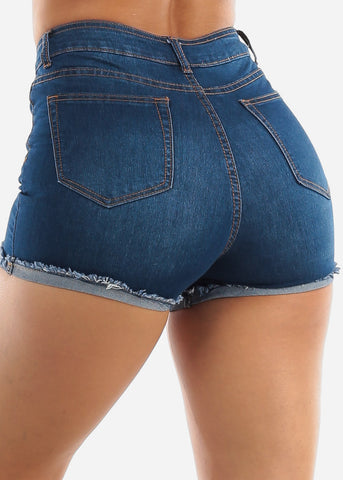 High Waisted Med Wash Denim Shorts