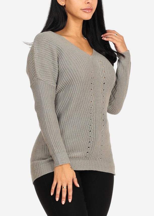 Cozy Grey Knitted V Neckline Sweater
