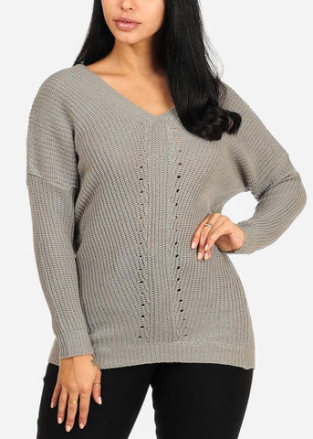 Image of Cozy Grey Knitted V Neckline Sweater