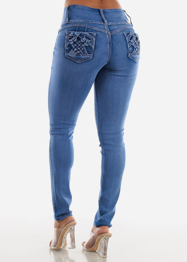 Levanta Cola High Rise Blue Skinny Jeans