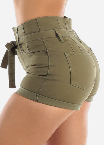 Image of Butt Lifting Tie Belt Olive Denim Shorts