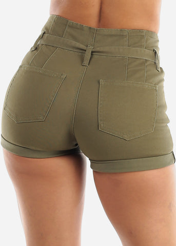 Butt Lifting Tie Belt Olive Denim Shorts