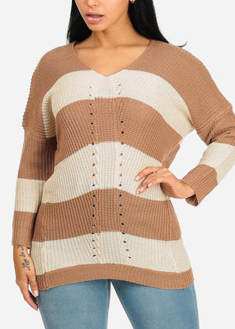 Image of Beige And White Striped Knitted Sweater