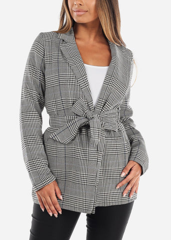 Front Tie Plaid Blazer with Navy