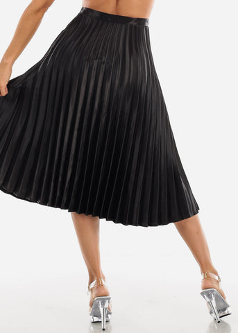 Image of Pleated Black Skirt