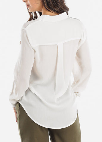 Image of White Button Down Blouse