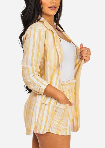 Stylish 3/4 Sleeve Yellow Stripe Print Blazer And High Rise Shorts (2PCE SET)
