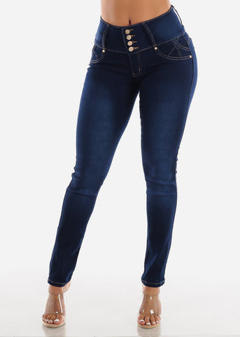 Butt Lifting Dark Wash High Waisted Skinny Jeans