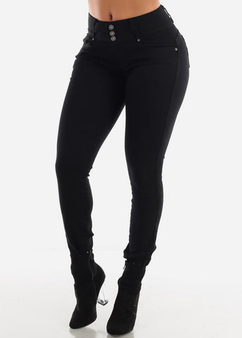 High Waisted Levanta Cola Black Skinny Jeans