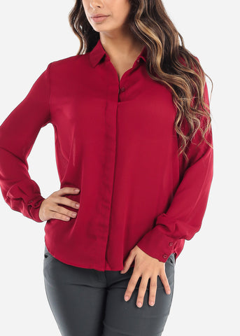 Image of Red Button Down Blouse