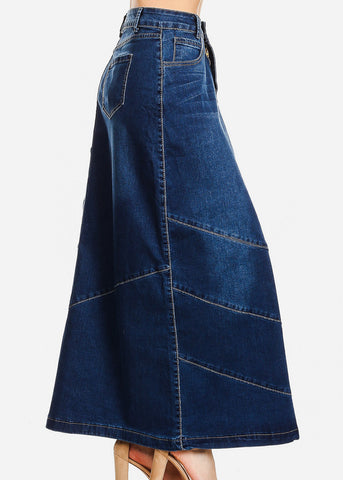 Med Wash A-Line Denim Maxi Skirt