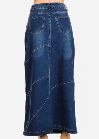 Image of Med Wash A-Line Denim Maxi Skirt