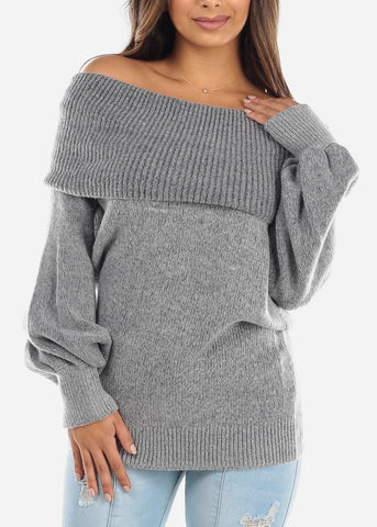 Off Shoulder Foldover Grey Sweater BFT07776GRY