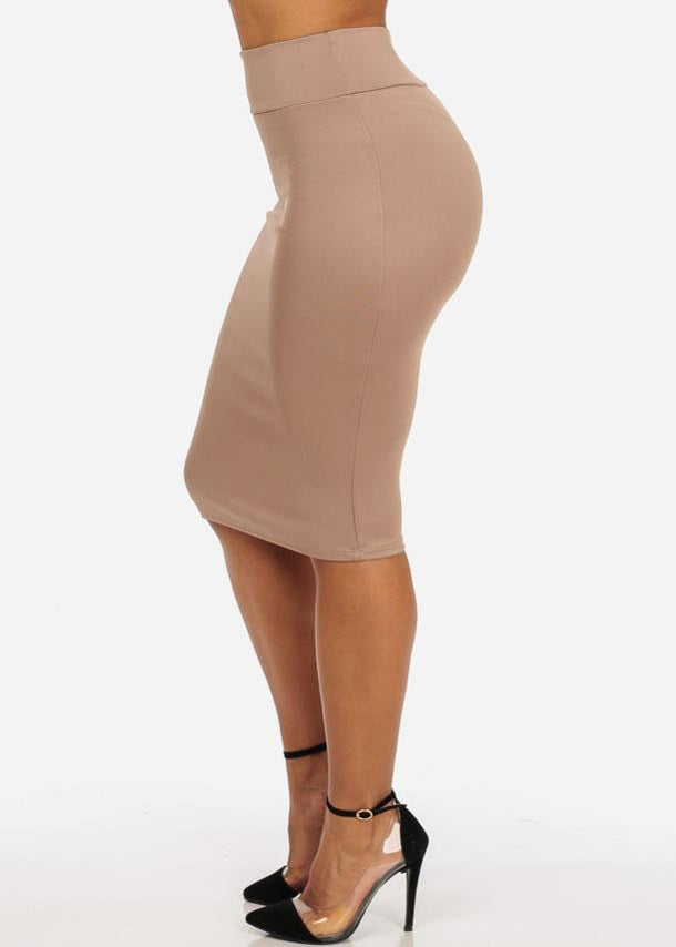Beige High Waist Pencil Skirt