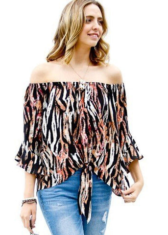 Off Shoulder Printed Black Top